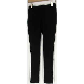 IMAN Ponte Knit Midnight Black Pull-On Black Leggings Womens
