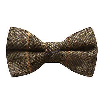 Luxus dunkel olivgrün Fischgräten Check Fliege, Tweed