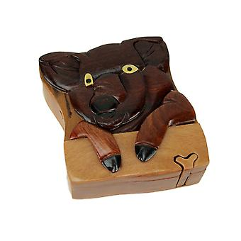 Hand Carved Wood 3D Pig Puzzle Trinket Box
