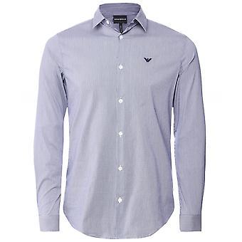 Armani Stretch Cotton Poplin Check Shirt