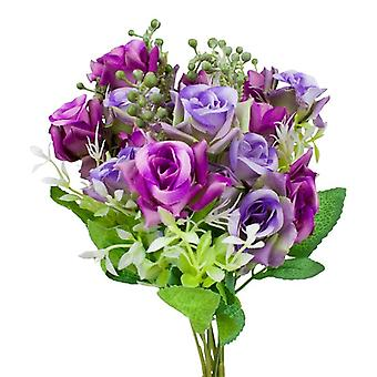 2-pack plastic floral bouquet, roses-purple