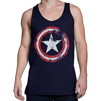 Captain America verdrietig marineblauw Tank Top