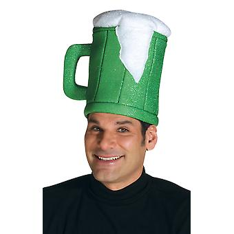 Adulte Green Beer Mug Hat Novelty Stag Night Fancy Dress Costume Accessoire