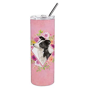 Border Collie Pink Flowers Double Walled Stainless Steel 20 oz Skinny Tumbler