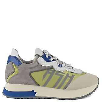 Ash TIGER Trainers Grey Suede & Green Nylon