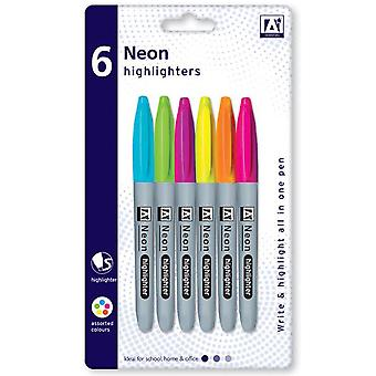 6 All in One Assorted Fluorescent Neon Highlighters Marker Pens