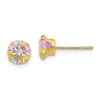 Oro amarillo de 14k pulido multicolor Multi color CZ Cubic Zirconia simulado diamante 6mm Post Pendientes Joyería Regalos f