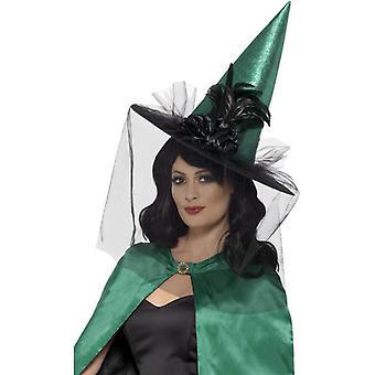 Cappello Strega Maga Deluxe, Teal, con piume & Netting