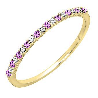 Dazzlingrock kollektion 14K runde Amethyst & hvid diamant damer jubilæum bryllup band, gul guld