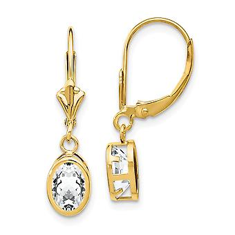14k Yellow Gold Polished 7x5mm Oval Cubic Zirconia Leverback Earrings