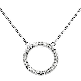 Dew Sterling Silver Cubic Zirconia Open Circle 18 Necklace 9882CZ020