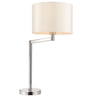 Endon Evelyn 1 valo pöytä lamppu kromi, Vintage valkoinen faux silkki 72425