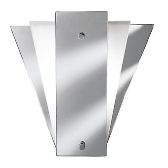 Deco Fan Style Wall Light White Frosted Glass
