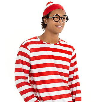 Where's Wally Halloween Costume - Men's Cosplay Outfit, S