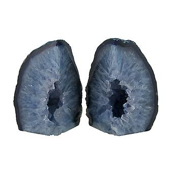 Small Polished Blue Brazilian Agate Geode Bookends <4 Pounds