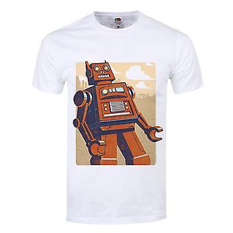 Grindstore Mens Retro Robot T قميص