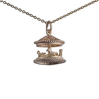 9ct Gold 14x14mm moveable Fair ground Carousel Pendant with a 1.1mm wide cable Chain 20 inches