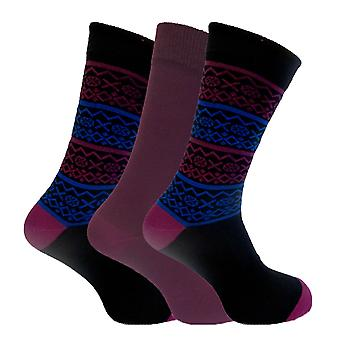 Mens Supersoft Comfy Bamboo Rich Socks In Plain And Fairisle Design 3 Pair Pack