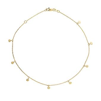 14k Yellow Gold Adjustable 8pc Dangle Disk Stations Anklet 10 Inch Jewelry Gifts for Women