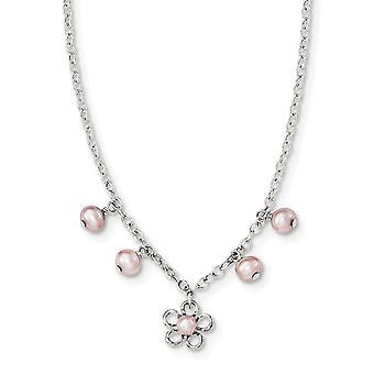 925 Sterling Silver F.w. Odlade F.w. Odlade Pearl Kabelkedja halsband med blomma / 1 i 14 tum