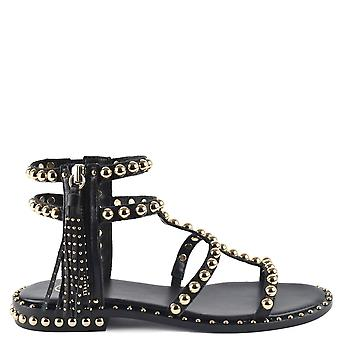 Ash POWER Sandals Black Leather & Gold Studs