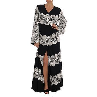 Dolce & Gabbana Czarny Jedwab kwiatowy koronki kaftan sukienka