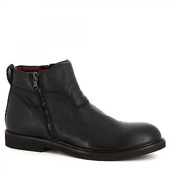 ليوناردو أحذية الرجال & s أحذية الكاحل المصنوعة يدويا في العجل الأسود الجلد الجانب إغلاق الرمز البريدي