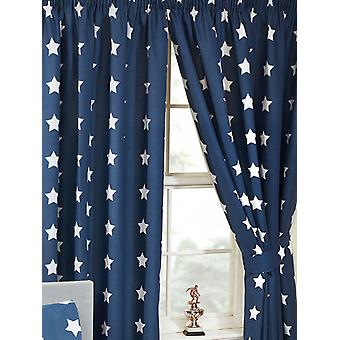 Navy Blue and White Stars Lined Curtains