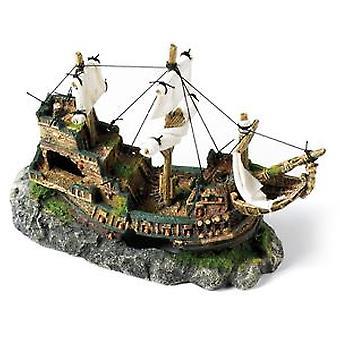 Klassiker för husdjur Galleon med segel 330mm (fisk, dekoration, prydnadsföremål)