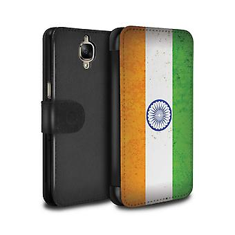 STUFF4 PU Leather Wallet Flip Case/Cover for OnePlus 3/3T/India/Indian/Asian Flag