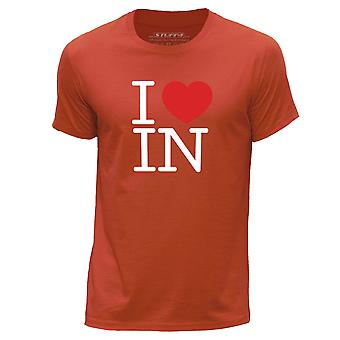 STUFF4 Men's Round Neck T-Shirt/I Heart IN / Love Indiana/Orange
