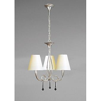 Paola Pendant 3 Light E14, Silver Painted With Cream Shades & Black Glass