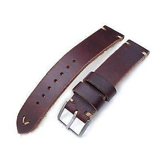 Strapcode calf leather watch strap 20mm, 22mm miltat horween chromexcel watch strap, burgundy brown, brown stitching