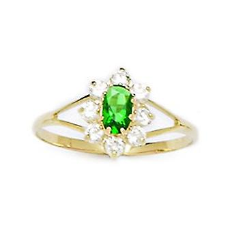 14k Yellow Gold Dark Green CZ Cubic Zirconia Simulated Diamond Size 5.5 Oval Flower for boys or girls Ring