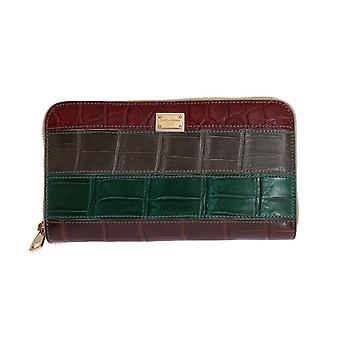 Multicolor- leather crocodile skin continental wallet