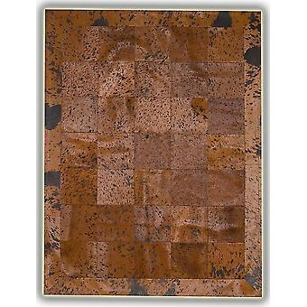 Rugs -Patchwork Leather Cubed Cowhide - Acid Brown Plain