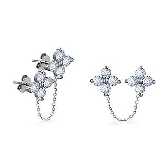 Earrings Chain Double Fairy 18K Gold and Diamonds (Single Piece) - White Gold
