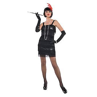 Damen 1920er Jahre Flashy Flapper Fancy Kleid Kostüm (Größe 8-10)