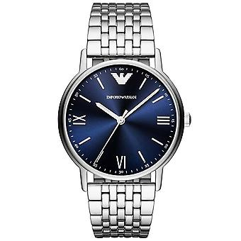 Armani Watches Ar80010 Navy Blue & Silver Stainless Steel Men's Watch