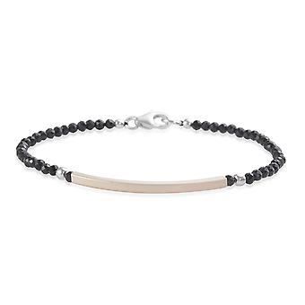 Bead Strand Black Spinel Bracelet for Women Sterling Silver Size 7.5