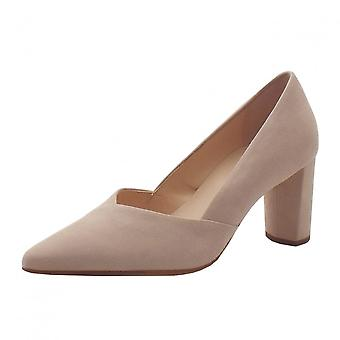 Högl 9-10 7502 Business Stylish Pointed Toe Suede Court Shoes In Nude Suede