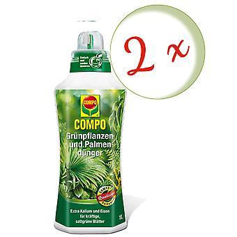 Sparset: 2 x COMPO grønn plante og palm gjødsel, 1 liter