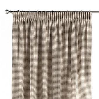 Vorhang mit Kräuselband, hellbraun-ecru , 130 × 260 cm, Quadro, 136-05