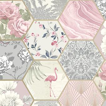 Patchwork Geo Hexagon Wallpaper Grey / Pink Rasch 249538