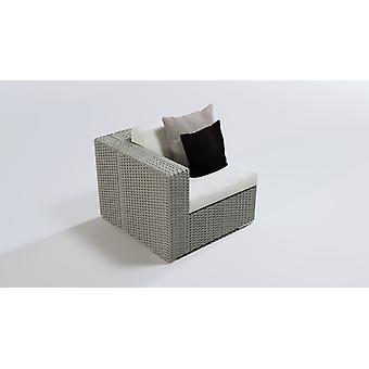 Polyrattan Cube hoekbank 90 cm - grijs satijn
