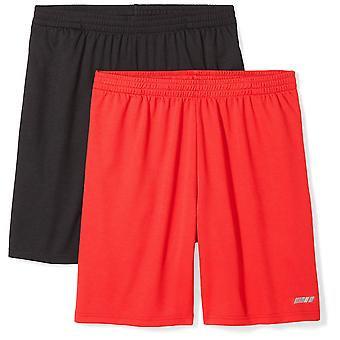 Essentials Men's 2-Pack Loose-Fit Performance Shorts, Black/Red, Large