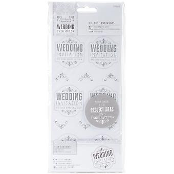 Papermania Ever After Wedding Die-cut Sentiments 204/pkg-wedding Invitation Silver & White