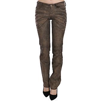 Brown Corduroy Low Waist Slim Fit Denim Pants Jeans -- PAN7751664