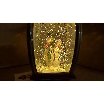 Snowman Scene Water Filled Ornament LED Light Battery Powered