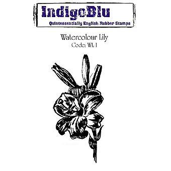 IndigoBlu Watercolour Lily montou um selo de borracha A6